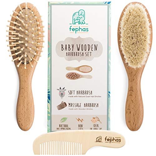 Wooden Baby Hair Brush and Comb Set for Newborns and Toddlers Girl/Boy |...