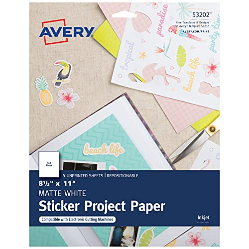 Avery Printable Sticker Paper, 8.5' x 11', Inkjet Printer, White, 20...