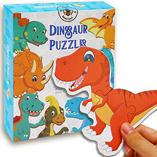 BEESTECH Beginner Dinosaur Puzzles for 2, 3, 4 Year Old Toddlers, 8 Pack...