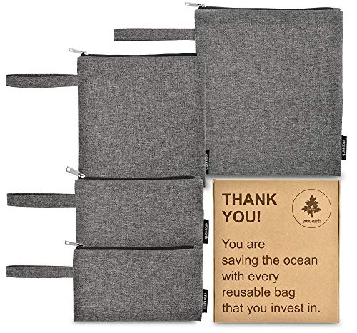 Reusable Sandwich Bags and Snack Bags 4 Pack – Fabric Reusable Baggies,...