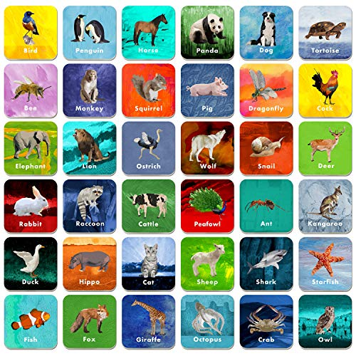 Hebayy 36 Pair Animal Matching Game Flash Cards Erasable (Each Measures...
