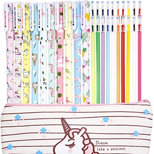 Jetec 10 Pieces Cute Gel Ink Pens Plus Unicorn Pencil Case pouch 20 Pieces...