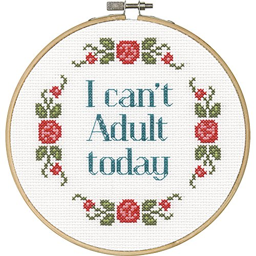 DIMENSIONS 'I Can't Adult Today' Counted Cross Stitch Kit for Beginners,...