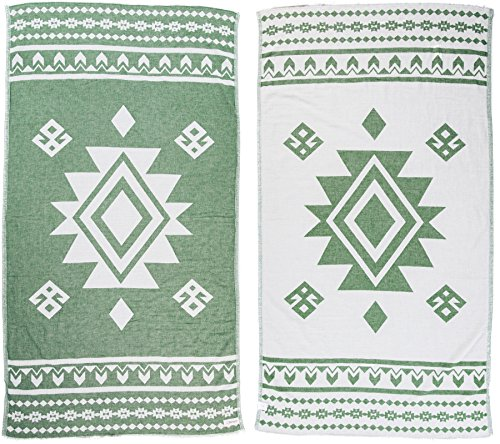 100% Cotton Uxmal Dual-Layer Handloom Turkish Towel - 37X70 Inches, Forest...