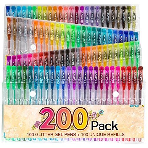 200 Glitter Gel Pen Set, 100 Gel Markers plus 100 Refills Glitter Neon Pen...