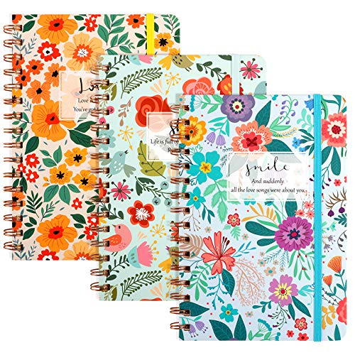 LABUK 3 Pack Ruled Flower Spiral Notebook 5.5x8.3 Inch 80 Sheets Lined...