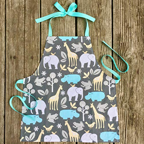 Handmade Zoo Animals Art Kitchen or Craft Gift Apron for Toddler