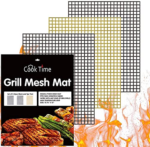 BBQ Grill Mesh Mat Set of 3 - Non Stick Barbecue Grill Sheet Liners Teflon...