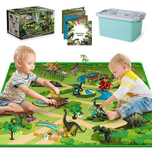 Dinosaur Toys - 10 Realistic Dinosaur Figures, Activity Kids Play Mat &...