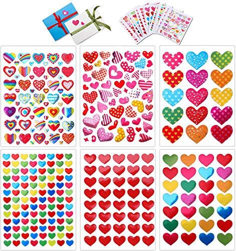 Konsait 60 Sheets Valentine Heart Stickers Love Decorative Sticker for Kids...