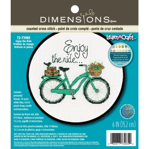 DIMENSIONS ''Enjoy The Ride'' Counted Cross Stitch Kit for Beginners, White...