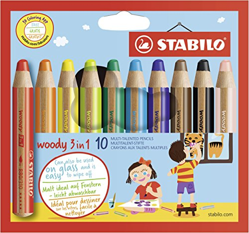 STABILO 880/10 Woody 3-in-1 Multi-Talented Pencil - Assorted Colours,...