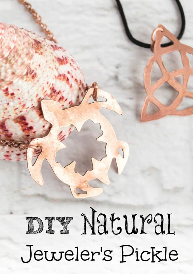 DIY Natural Jeweler's Pickle text over an image with a copper necklace with a pendant shaped like a turtle