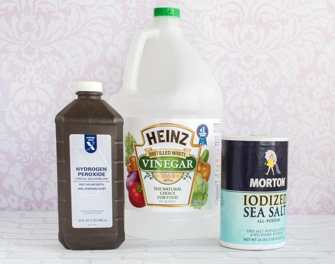 natural pickle pot ingredients - peroxide, vinegar, and salt