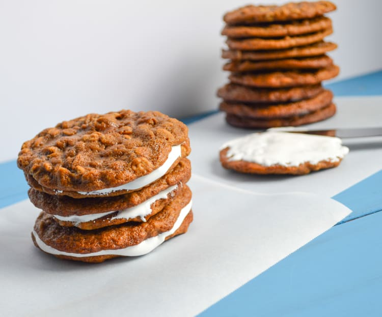 oatmeal cream pies being assembeled