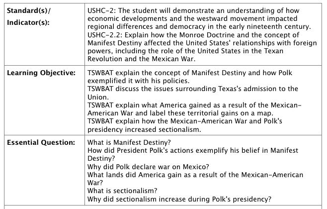 Polk presidency lesson plan