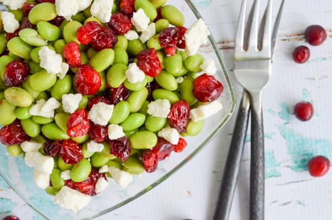 Roasted Cranberry Edamame Feta Salad