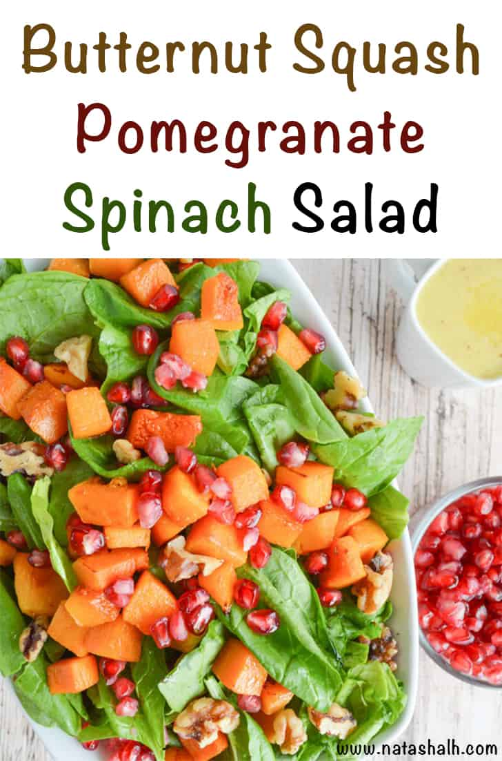 Butternut Squash, Spinach, and Pomegranate Salad with Honey Cider Vinaigrette