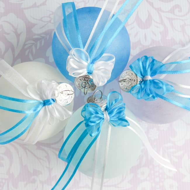 Frosted Beach Glass Ornaments with Easy Bows