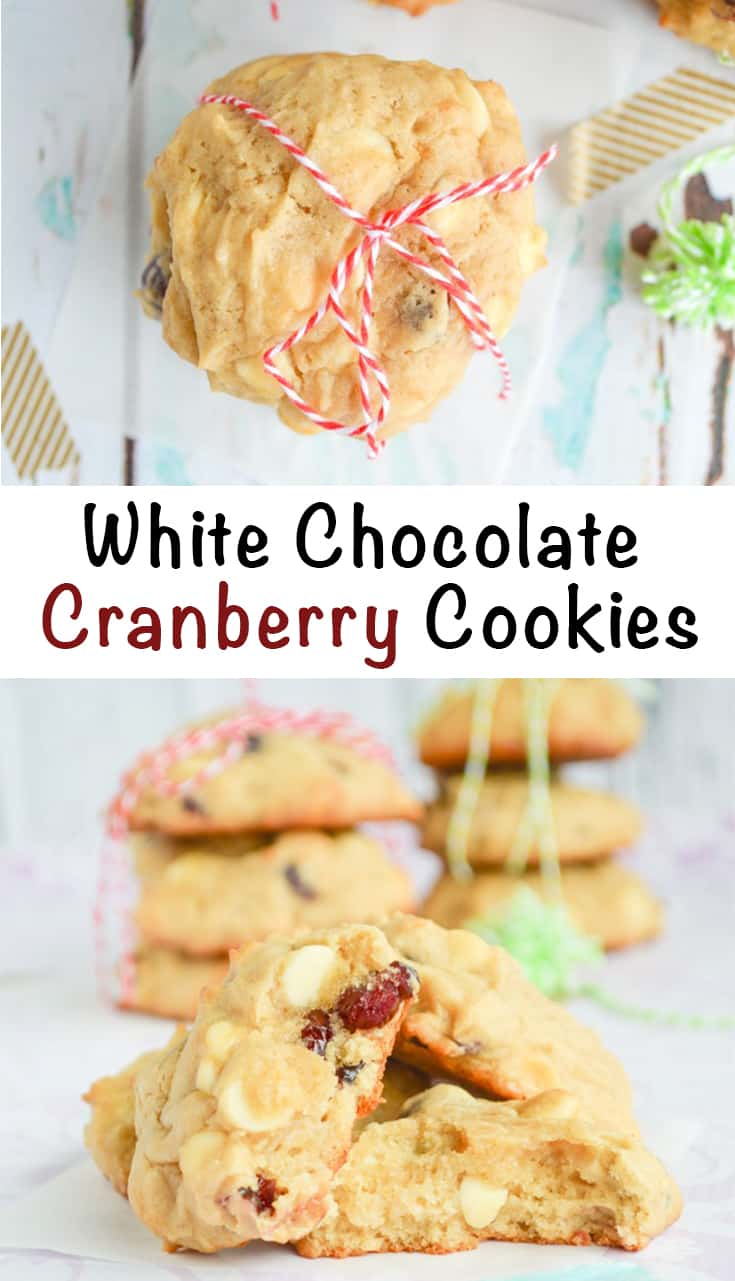 white chocolate cranberry cookies made with cream cheese
