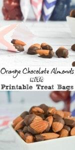 Orange Chocolate Dipped Almonds with Treat Bag Printable