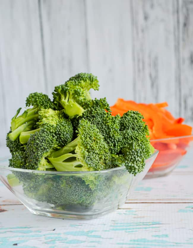 broccoli and bell peppers