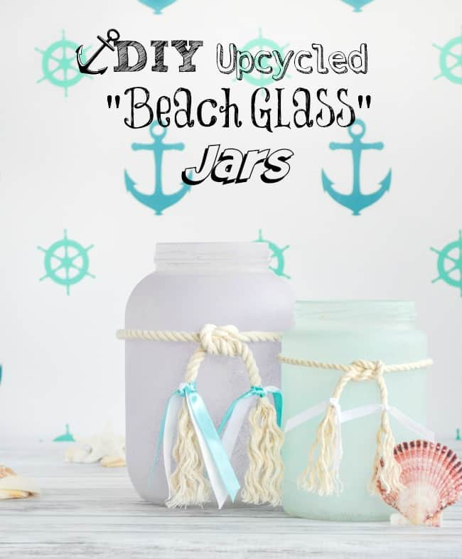 DIY Upcycled Frosted Sea Glass Beachy Jars