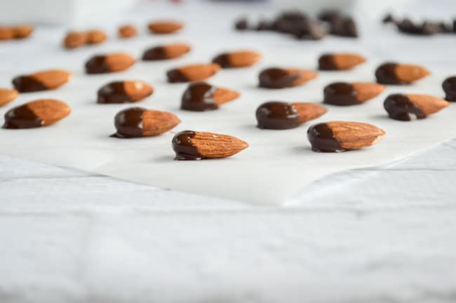 chocolate dipped almonds