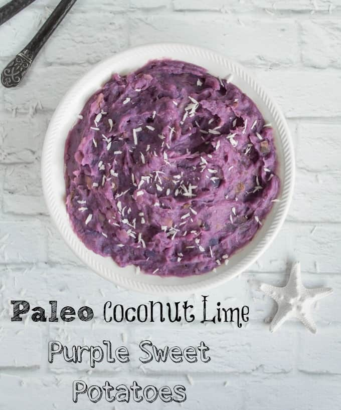 Mashed Paleo Purple Sweet Potatoes with Lime and Coconut -