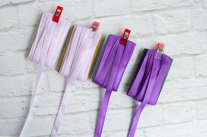 ribbons on bobbin cards