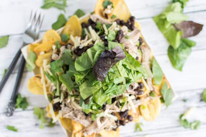 pork nachos with lettuce