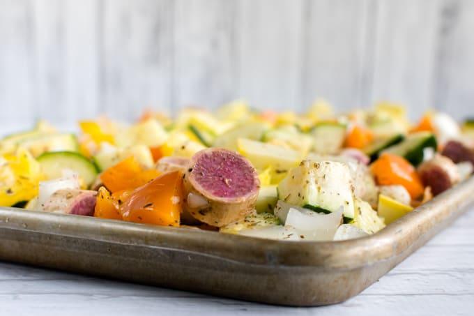 oven roasting veggies for weekly meal prep