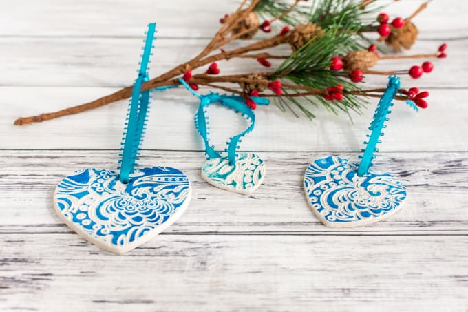 Embossed Air Dry Clay Ornaments