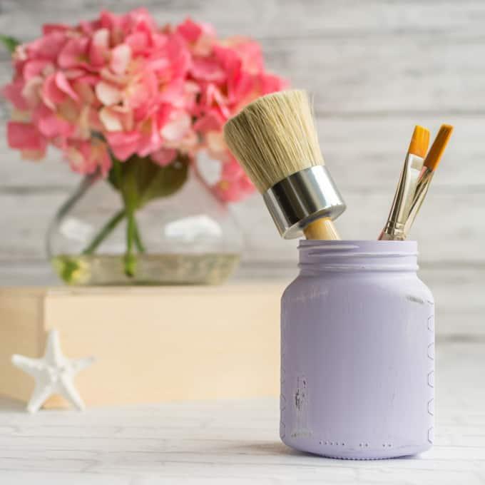 painted upcycled honey jar organizer
