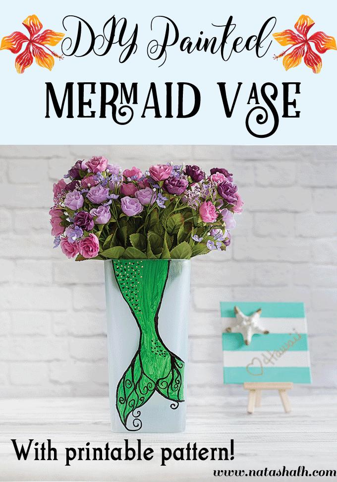 DIY Painted Mermaid Vase with printable pattern!