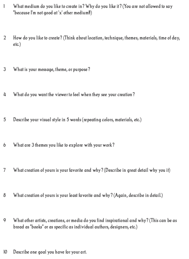 worksheet for finding your creative muses