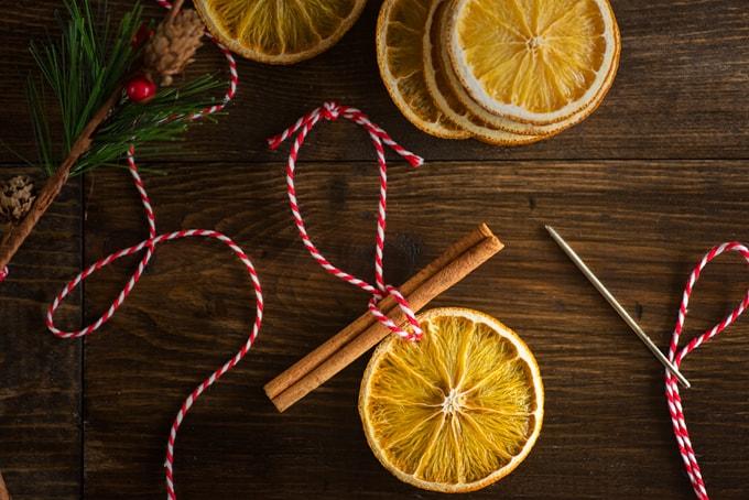 Simple orange slice ornaments