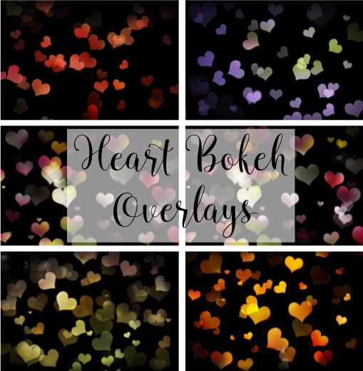 free bokeh heart overlays for valentines day