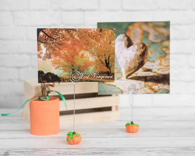 polymer clay pumpkin photo holders for fall