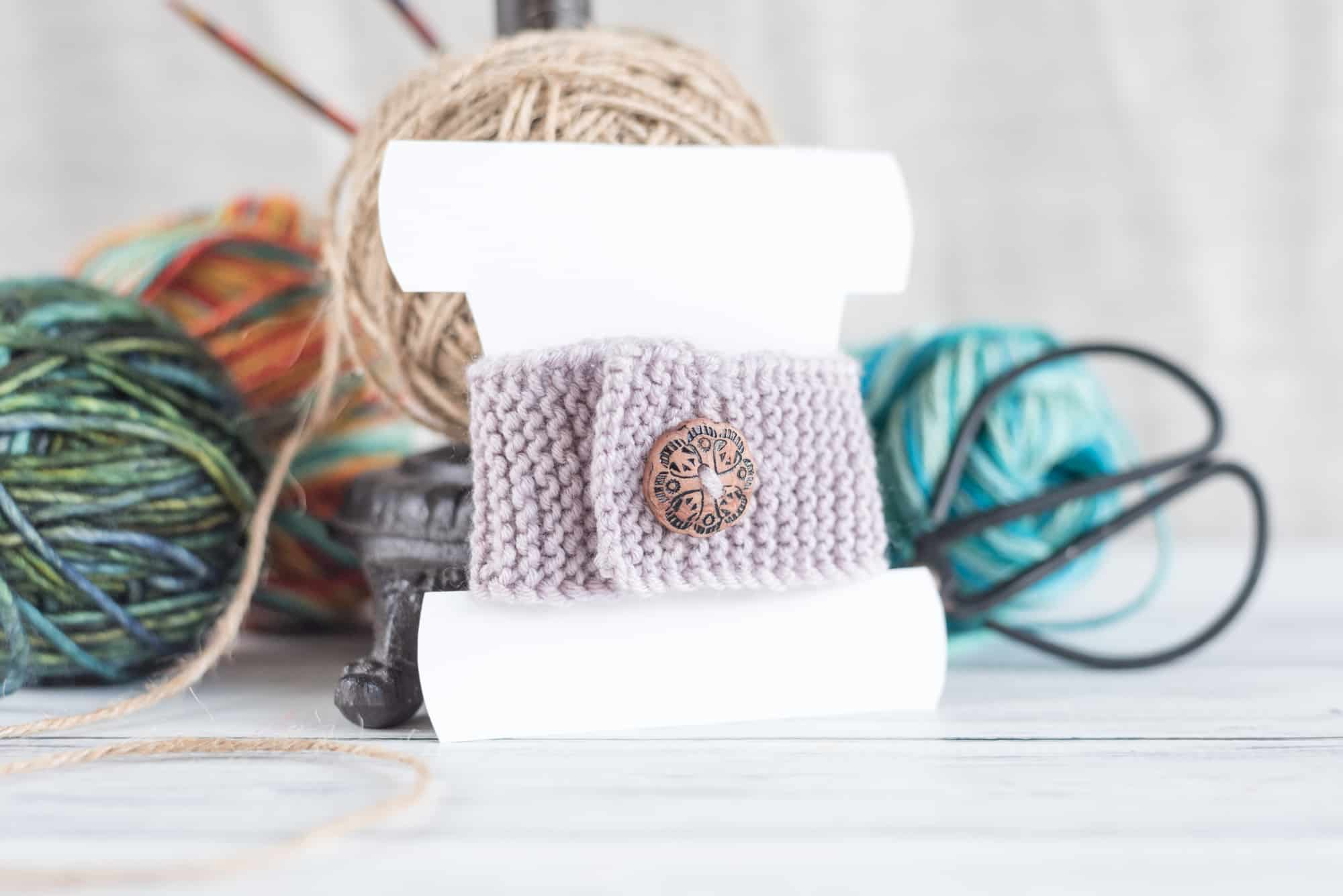 knitted bracelet with polymer clay button