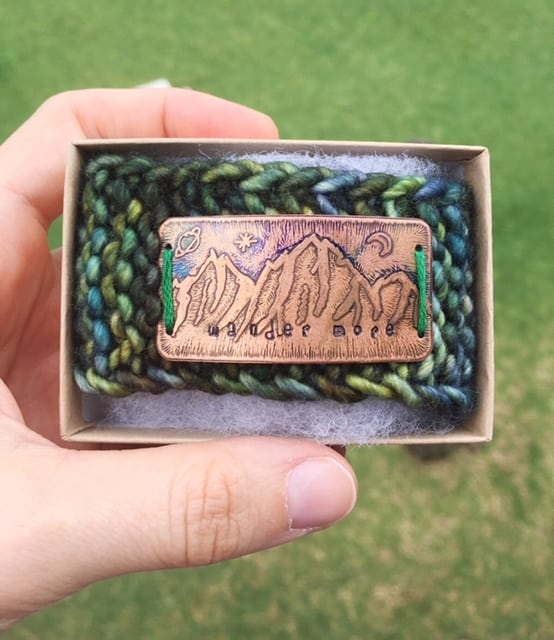 knitted bracelet with copper etched mountains
