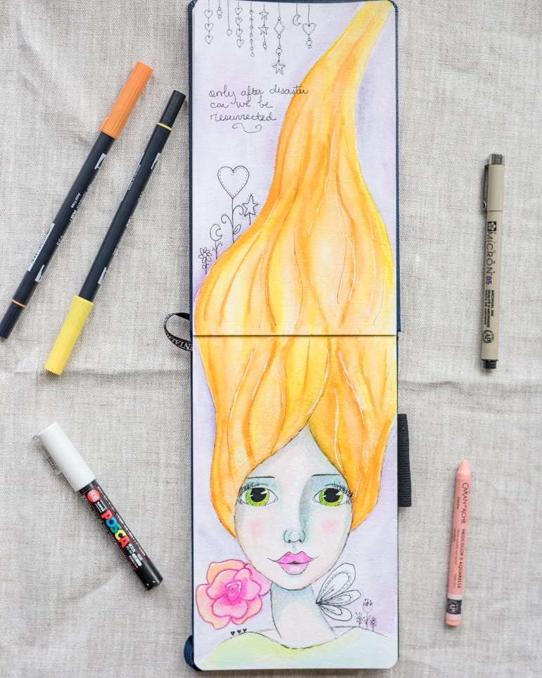 only after disaster can we be resurrected mixed media whimsical girl