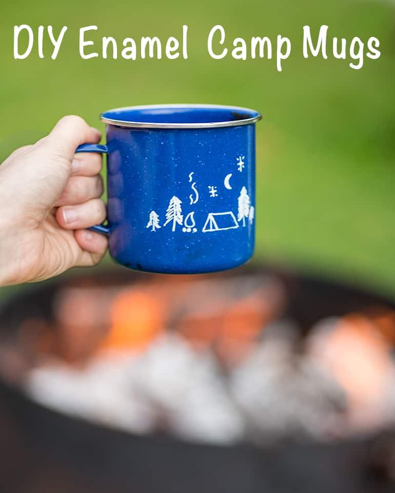 DIY enamel camp mugs tutorial