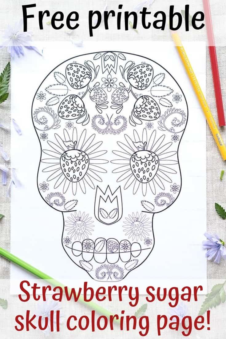 free printable strawberry sugar skull coloring page