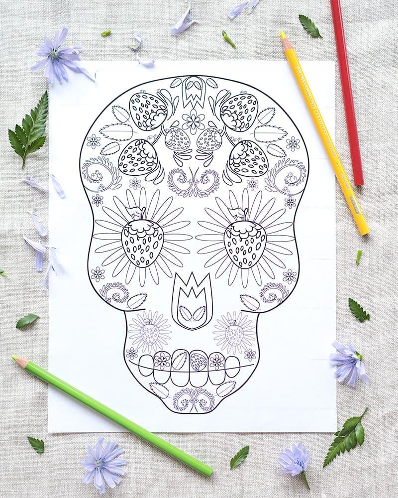 strawberry sugar skull printable coloring page
