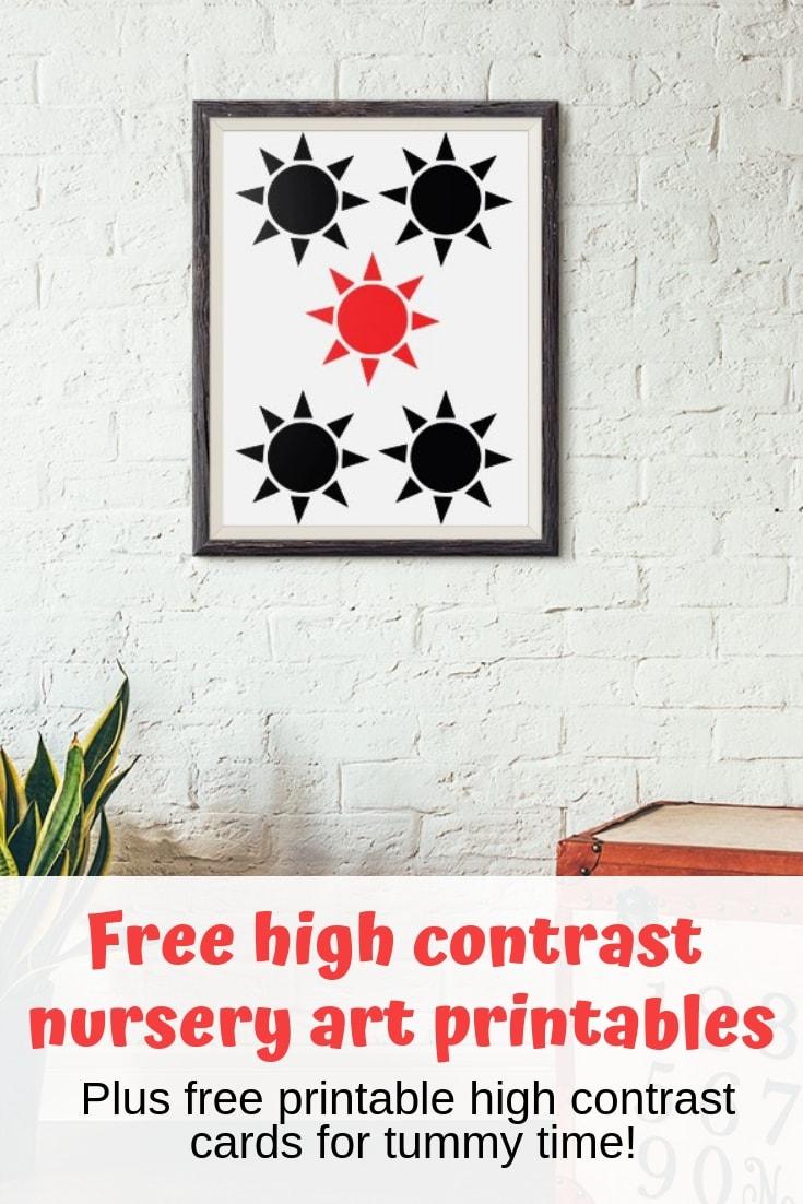Snag these high contrast nursery art printables and free printable high contrast cards for infants