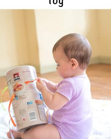 upcycled DIY fine motor toy for infants