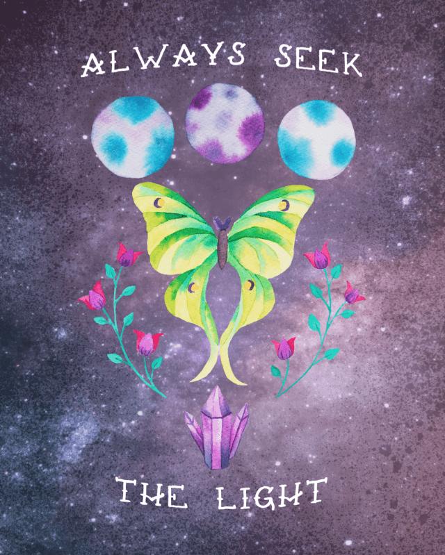 always seek the light luna moth painting