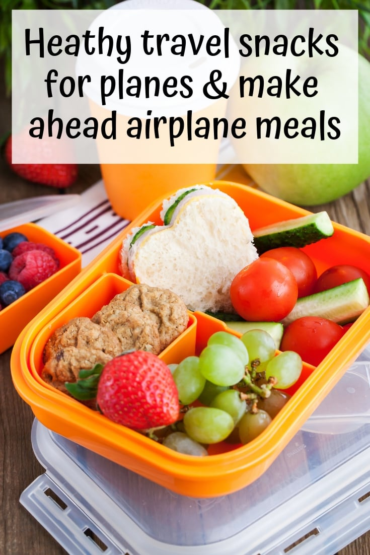 Heathy travel snacks for planes & make ahead airplane meals. Discover what to eat on a long flight and make ahead airplane meals!