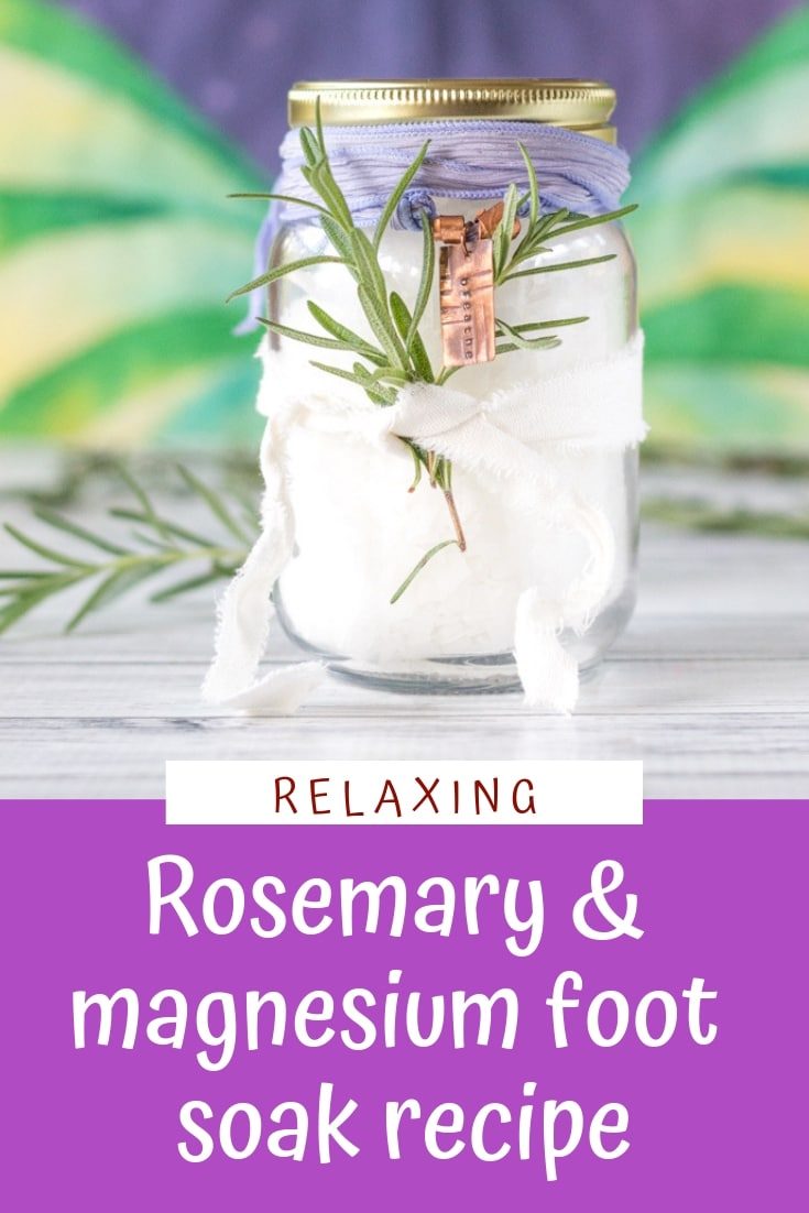 This relaxing rosemary and magnesium foot soak recipe is sooo good for aching feet!